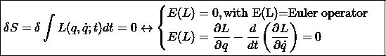 \[ \boxed{\delta S=\delta \int L (q,\dot{q};t)dt =0\leftrightarrow\begin{cases}E(L)=0,\mbox{with E(L)=Euler operator}\\ E(L)=\dfrac{\partial L}{\partial q}-\dfrac{d}{dt}\left(\dfrac{\partial L}{\partial \dot{q}}\right)=0\end{cases}}\]