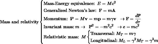 \[ \mbox{Mass and relativity}\begin{cases}\mbox{Mass-Energy equivalence:}\;\; E=Mc^2\;\; \\ \mbox{Generalized Newton's law:}\;\; \mathbb{F}=m\mathbb{A}\;\\ \mbox{Momentum:}\;\; \mathbf{P}=M\mathbf{v}=m\mathbf{p}=m\gamma \mathbf{v}\;\;\rightarrow\mathbb{F}=\dfrac{d\mathbb{P}}{d\tau} \\ \mbox{Invariant mass:}\; m \rightarrow \;\;\mathbb{P}^2=-m^2c^2\;\; \rightarrow e=mc^2\\ \mbox{Relativistic mass:}\;\; M \begin{cases}\mbox{Transversal:}\; M_T=m\gamma \\ \mbox{Longitudinal:}\; M_L=\gamma^2M_T=\gamma^3m \end{cases}\end{cases}\]