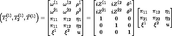 \begin{equation*}\left(T_1^{(1)},T_2^{(1)},\tilde{T}^{(1)}\right)=\begin{bmatrix}\omega^{\dot{1}1} & \omega^{\dot{1}2} & \rho^{\dot{1}}\\ \omega^{\dot{2}1} & \omega^{\dot{2}2} & \rho^{\dot{2}}\\ \pi_{11} & \pi_{12} & \eta_1\\ \pi_{11} & \pi_{12} & \eta_2\\ \xi^1 & \xi^2 & u\end{bmatrix}=\begin{bmatrix}iZ^{\dot{1}1} & iZ^{\dot{1}2} & \theta^1\\ iZ^{\dot{2}1} & iZ^{\dot{2}2} & \theta^2\\ 1 & 0 & 0\\ 0 & 1 & 0\\ 0 & 0 & 1\end{bmatrix}\begin{bmatrix}\pi_{11} & \pi_{12} & \eta_1\\ \pi_{21} & \pi_{22} & \eta_2\\ \xi^1 & \xi^2 & u\end{bmatrix}\end{equation*}